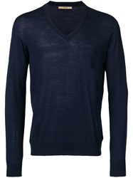 Nuur V Neck Merino Sweater Blue