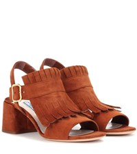 Prada Suede Sandals Brown