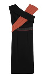 Vionnet Pleated Paneled Crepe Dress Black
