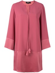 Paule Ka Bow Neck Shift Dress Pink Purple