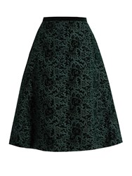 Rochas Floral Embroidered Velvet A Line Skirt Dark Green