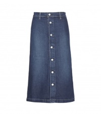 Alexa Chung For Ag Cool Denim Midi Skirt Blue
