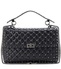 Valentino Rockstud Spike Quilted Leather Handbag Black