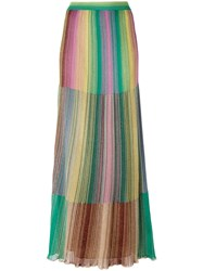 M Missoni Long Metallic Knit Stripe Skirt Green
