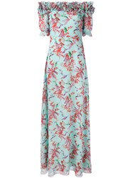 Giamba Long Floral Off The Shoulder Dress Women Silk 44 Blue