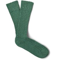 The Workers Club Melange Stretch Merino Wool Blend Socks Green