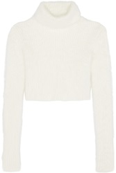 Roberto Cavalli Cropped Ribbed Angora Blend Turtleneck Sweater