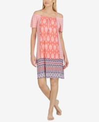 Ellen Tracy Off The Shoulder Printed Chemise Coral Print