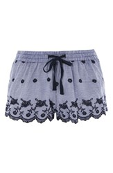 Topshop Women's Cotton Gingham Pajama Shorts Navy Blue