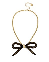 Betsey Johnson Garden Of Excess Faceted Bead Mesh Bow Goldtone Necklace