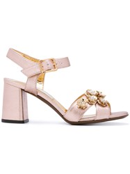 L'autre Chose Embellished High Heel Sandals Women Leather 36.5 Nude Neutrals