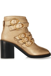 Jerome C. Rousseau Ryo Buckled Metallic Leather Ankle Boots