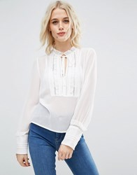 Asos Lace Insert Blouse With Deep Cuff And Tie Cream