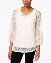 Styleandco. Style And Co. Lace Peasant Top Only At Macy's Vintage Cream