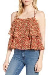 Rebecca Minkoff Cynthia Floral Tiered Top Red Multi
