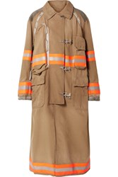 Calvin Klein 205W39nyc Oversized Convertible Reflective Trimmed Cotton Canvas Coat Beige