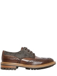 Dama Brogue Houndstooth And Leather Derby Shoes