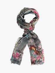 Chesca Flower Scarf Grey Multi