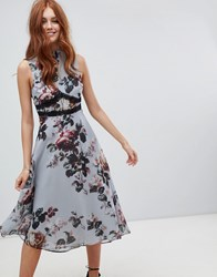 Hope And Ivy Midi Bridesmaids Dress In Floral Print Blue Floral Multi