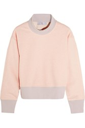 Cropped Organic Cotton Blend Turtleneck Sweater Pastel Pink