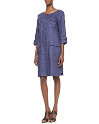 Go Silk Linen Pocket Front Shirtdress Petite Navy