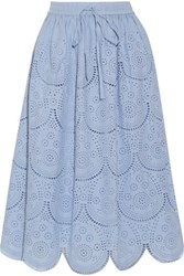 Suno Pleated Broderie Anglaise Cotton Midi Skirt Sky Blue