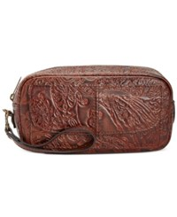 Patricia Nash Burnished Tooled Lace Remini Cosmetics Case Dark Brown