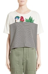Marc Jacobs Women's Embellished Stripe Crop Tee