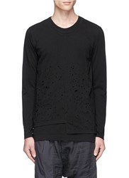 The Viridi Anne Distressed Layered Long Sleeve T Shirt Black