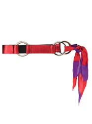 Spacenk Nk Leather Belt With Silk Ribbon Red