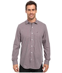 Nautica Long Sleeve Wrinkle Resistant Small Check Shirt Biking Red Men's Long Sleeve Button Up