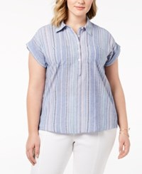 Styleandco. Style Co Plus Size Cotton Marcella Striped Top Shirt Created For Macy's