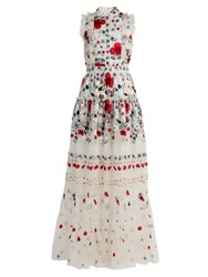 Erdem Ava Floral Embroidered Silk Organza Gown Red Multi