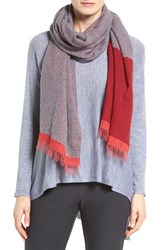 Eileen Fisher Women's Recycled Cashmere Blend Colorblock Scarf China Red