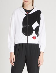 Alice Olivia Kyle Embellished Cotton Blend Hoody Optic White Multi