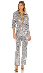 Torn By Ronny Kobo Ozzy Jumpsuit In Metallic Silver.