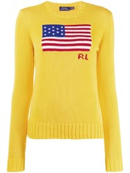Polo Ralph Lauren Logo Flag Embroidered Sweater Yellow