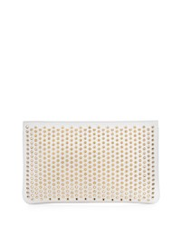 Christian Louboutin Loubiposh Spiked Clutch Bag White Women's White Gold