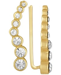 Rachel Roy Gold Tone Crystal Ear Climbers