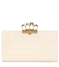 Alexander Mcqueen Embellished Leather Clutch White