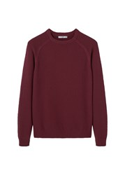 Mango Men's Reverse Knit Cotton Sweater Red