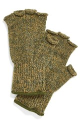 Men's Upstate Stock 'Ragg' Fingerless Wool Blend Knit Gloves Green Olive Melange