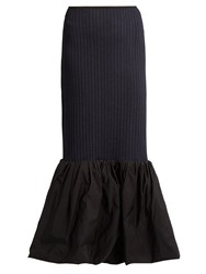 Ellery Fluted Hem Ribbed Knit Skirt Black Multi