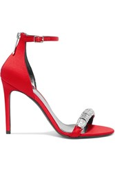 Calvin Klein 205W39nyc Camelle Crystal Embellished Satin Sandals Red Gbp