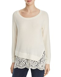 Red Haute Lace Hem Sweater Winter White