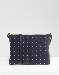 Asos Leather And Suede Pin Stud Cross Body Bag Navy