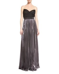 J. Mendel Strapless Pleated Silk Gown With Illusion Neck Anthracite