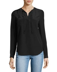 Rebecca Taylor Sofia Silk Split Neck Blouse Black