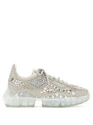Jimmy Choo Diamond Crystal Embellished Suede Trainers Silver