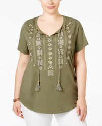 Jm Collection Plus Size Embellished Peasant Top Only At Macy's Olive Sprig
